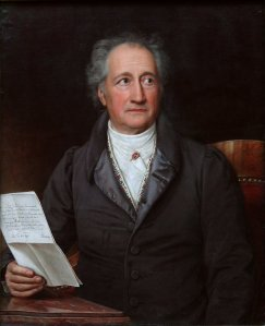 Johann Wolfgang von Goethe in Stieler's 1828 portrait. He looks like he could use a Xanax here.