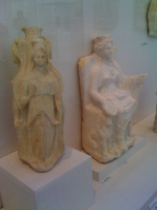 Marble statues of the goddesses Hekate (left) and Kybele enthroned (right), Roman Empire, 2nd Century C.E. Photo I took in New York City's Metropolitan Museum of Art