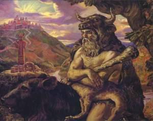 Klimenko's stunning painting of the Slavic God of the Underworld, Veles