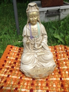 Kwan-Yin statue in the shrine belonging to N.S. of Circle Sanctuary; it was not lost on me that the goddess gave me shelter and tranquility during the worst of the thunderstorm that day
