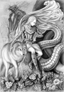 Loki (center) and His bad-ass bastards: the goddess Hel, the Fenris Wolf, and Jormungand the World Serpent