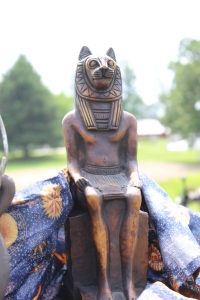 My Sekhmet statue as set up directly outside the tent I camped in for PSG 2014.