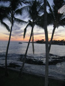 One of those heartbreakingly beautiful Hawaiian sunsets, made all the worse when you are alone and choking on grief.