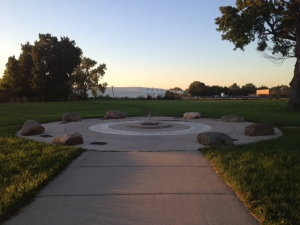 Curious concrete rings pockmarked with stones explaining Dunning's 39,000 paupers' graves greet you open entering Read-Dunning Memorial Park