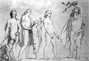Frølich's Neoclassically inspired Germanic Gods in the scene where Odin casts Loki's children out of Asgard. Little Hel, being led away by Baldr, will ironically be holding him in Her halls until the Ragnarök.