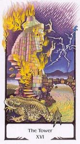 The Tower card from the Tarot of the Old Path