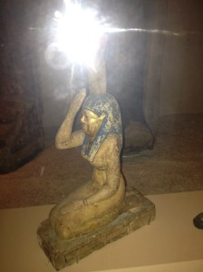 """Wooden Late Period statue of Nebet-Het in the """"Inside Ancient Egypt"""" exhibit at the Field Museum."""
