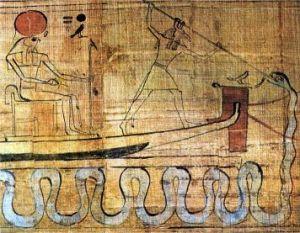 Set skewering Apep on behalf of Ra, seated in Millions of Years