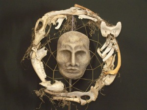 """Bone Woman, Crone Woman"" art featuring ""a harvest of bones"" by artist Joan Riise. Now in my personal collection."