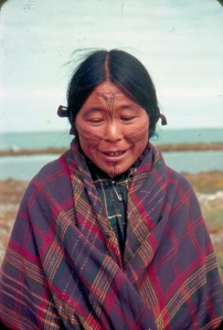 Modern Inuit woman from Greenland with facial tattoos.