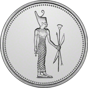 Reverse of a 1994 Egyptian silver five-pound coin depicting Nit as warrior goddess. Her head bears the stylized crown of Lower Egypt.