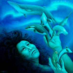 Hrana Janto's stunning painting depicting the creation of sea mammals from Sedna's severed fingers hangs in my office. Check out more of Hrana Janto's goddess art on www.hranajanto.com.