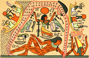 Shu (Air) upholds the Sky Goddess Nut, who arches over Her husband, Geb, God of the Earth. Gods like Thoth are cruisin' in celestial boats in the periphery.
