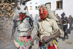 Koleda (winter festival) spirit wolves. Masks made by artist Leon Uršič; photo courtesy of Primož Hieng