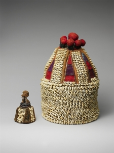 Yoruba Ori shrine dated from 19th-20th cent., Nigeria. Made of cowrie shells (symbols of wealth and well-being), cotton, and leather. Talismanic/devotional objects personifying one's Ori are housed in the shrine. In Ifa, this is a form of worship of one's Higher Self. Image courtesy of metmuseum.org.