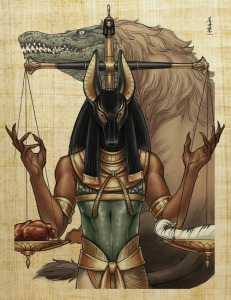 """A serious contender for my next tattoo! I love how majestic Anubis looks but check out that fierce and fabulous Ammit towering above the scale! Gotta love that """"Eater of Souls""""! Rawr!"""