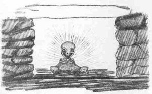 A helping spirit called an angiut. Drawn in the 1920s by Inuit in Greenland interviewed by Norwegian/Inuit explorer Knud Rasmussen in the 1920s.