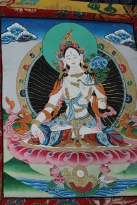 White Tara thangka detail.