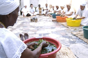 It takes several members of an Ifa house to prepare the omiero, or sacred herbal bath, used in initiations and spiritual cleansings.