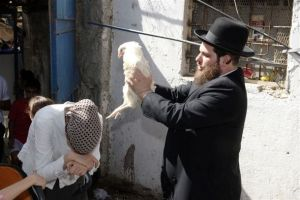 Orthodox Jewish cleansing rite of Kaparot performed the eve of Yom Kippur. Photo taken in Jerusalem in 2008.