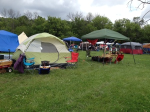 Home away from home: our tent on the left and the  Mobile Shrine Unit on the right.
