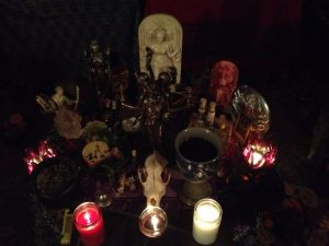 My Hekate altar the night of Dark Moon this past Thursday night, featuring deadly nightshade and other lovely plants picked from the cemetery.