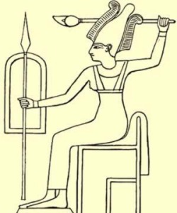 """Anat, the Canaanite Goddess of War and Lust--two appetites Set knows well. Her cult was imported into Egypt and She was called """"Antit"""" and depicted wearing the plumed crown of Upper Egypt. Wife of the storm God Ba'al, She became a wife of Set as well."""