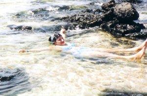 Moments before my underwater encounter with the Akua, Kanaloa. Mokolua Islands, Oahu, June 2003.
