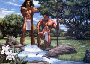 The Hawaiian Gods Kane (left) and Kanaloa (right), striking the earth with Their sacred staves in order to bring the blessing of fresh-flowing streams.