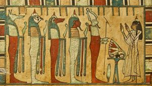 The Four Sons of Horus guard Osiris. Image from the Louvre.