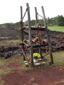 Altar with offerings to Kanaloa, Pu'u O Mahuka heiau (ancient Hawaiian temple), Oahu. Photo credit: Mark Czerniec