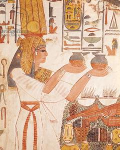 Tomb painting depicting Queen Nefertari making an offering. 19th Dynasty (c.1297-1185 B.C.E.); Valley of the Queens, Thebes, Egypt. Public domain.
