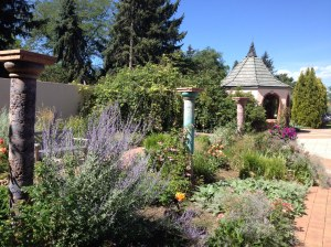 One of the many nooks affording delight for all the senses at the Denver Botanical Garden.