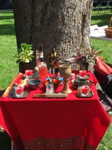 My altar to Set 'neath the beech tree at Chicago Pagan Pride, 9/13/15