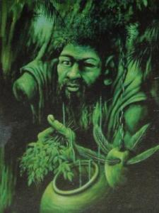 The Yoruban Orisha Òsanyìn is thought to be one-eyed, one-armed, and one-legged. No workings in Ifá would be possible without His help, as the use of sacred plants is a core practice in this very earth-based religion.