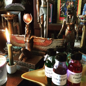 My new Isis and Sekhmet statues from Alchemy Arts, graced by the serendipitously received gift of healing waters collected from sacred places around the world (including the Temple of Isis at Philae in Lower Egypt!). This stunning collection of Sacred Waters was given to me as a gift by Rt. Rev. Gayle Mack, one of my most treasured friends in the FOI.