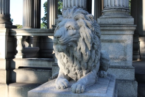 Crazed lion/mausoleum guardian. Photo I took at Forest Home Cemetery, Forest Park, Illinois.
