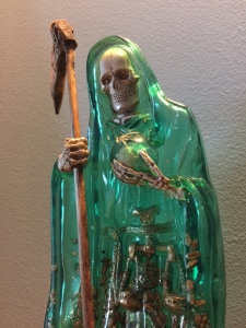 My beautiful and newly consecrated statue representing La Santa Muerte Verde, the Santísima of Justice and Legal Affairs.
