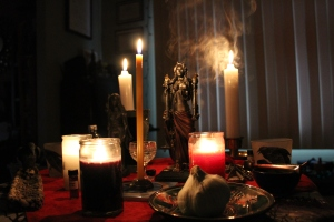 Libanomancy at my Hekate shrine. Statue sculpted by the gloriously talented Jeff Cullen of thevodoustore.com.