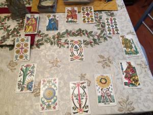 My 2016 Year-Wheel spread using my Marseilles Tarot deck.