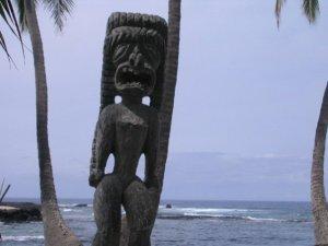 """Photo I took of the Ki'i standing guard at Hale O Keawe Heiau, the """"Place of Refuge,"""" Big Island of Hawaii"""