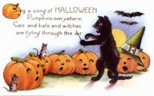 Viewing vintage Halloween cards is a special treat, especially when black cats can double as orchestra conductors.