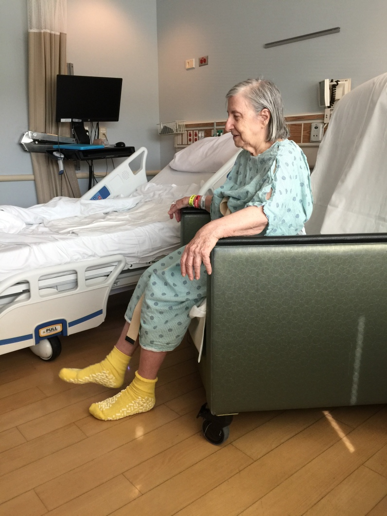 Mommy in the hospital on her 81st birthday last fall. Despite COVID restrictions, I was still allowed to visit as her daughter.